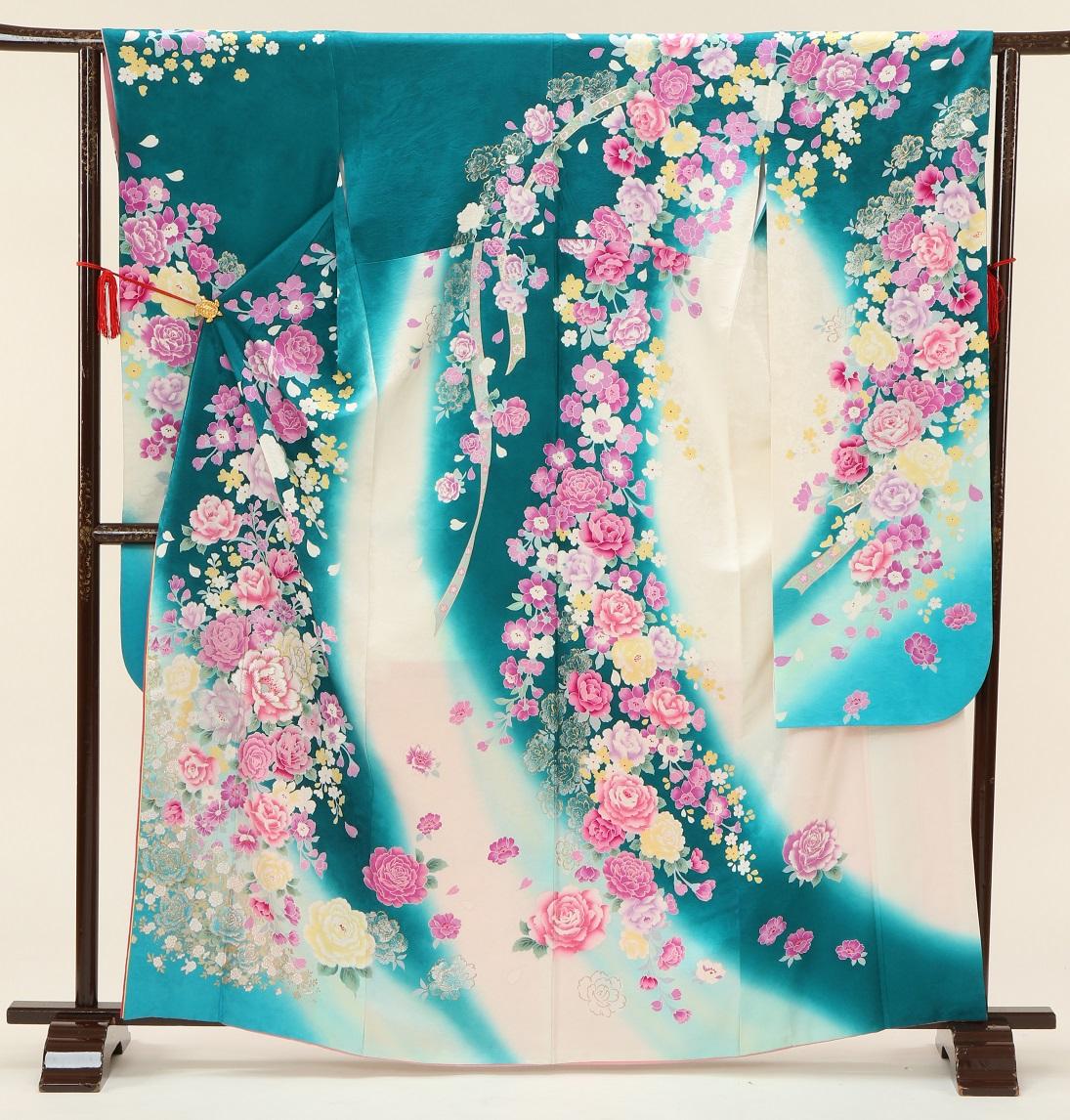 5321 桂由美 ブルーピンクバラ Mサイズ