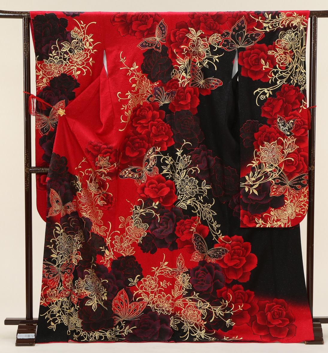 5368 赤黒地バラ蝶 Mサイズ