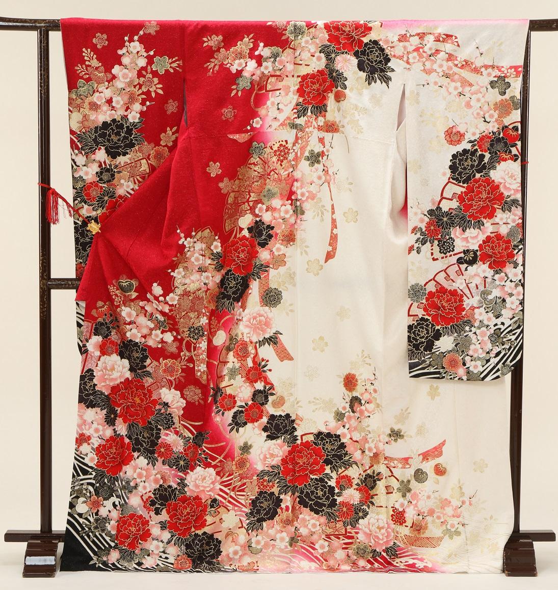 5360 マーベラス 赤白バラ裾黒 Mサイズ